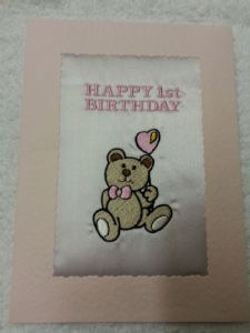 HAPPY BIRTHDAY CARD - Teddy with a Heart Balloon - Pale Pink